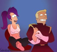 Leela tickled by Zap by solletickle