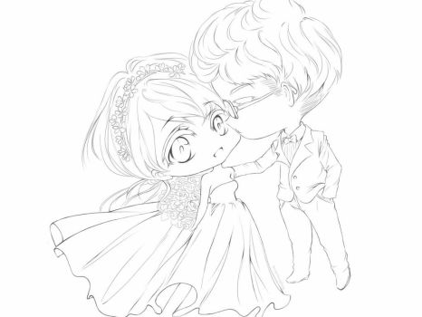 wedding- lineart by rom-kun