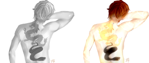 First attempt at Gray Scale + Sen's Tattoos by AniXancy