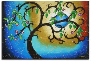 Whimsical Blue Moon Painting by hjmart