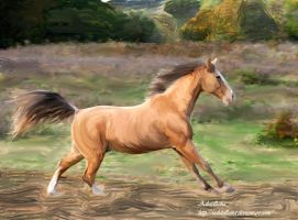Painted golden horse by Adutelluma