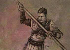 Dorian with a staff by slugette