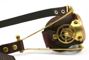 Steampunk mono-goggle brown leather 2 by AmbassadorMann