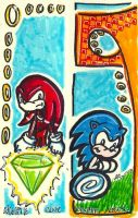 Sonic and Knuckles Bookmarks by nighte-studios