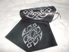 Black and silver celtic bracer by Feral-Workshop