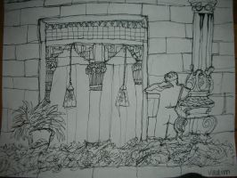 Pen drawing of museum hall. by Xoxorian