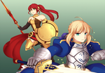 COMMISSION: Saber and Pyrrha by re-kii