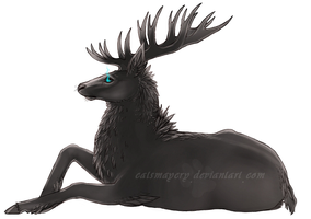 Raven feathered stag -WIP by catsmaycry