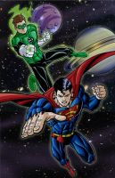 Green Supes in Space by Godsartist
