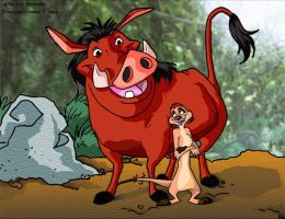 Timon and Pumbaa by ElectricDawgy