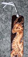 Pyrographed dragon bookmark: Erroll by BumbleBeeFairy