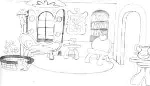 fluttershys cottage living room back by ExcentricSketches4U