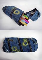 Spiral Denim Patchwork Pencil Case by ajnataya