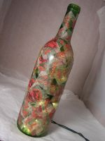 Paper Roses - Recycled Bottle with Lights by nightowl2704