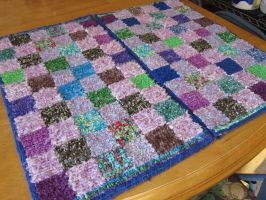 Pink checkerd Locker hooked rug 2 of 2  matching by Nishii55
