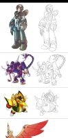 Lines of Megaman X Megamission by avbertelli
