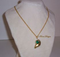 Kokiri Emerald Necklace Pendant Zelda OoT OOAK #5 by TorresDesigns