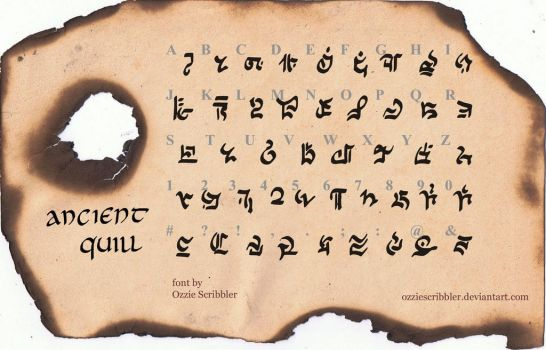 Ancient Quill FREE FANTASY/SCI-FI FONT by OzzieScribbler