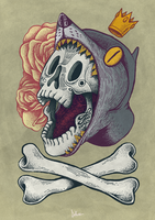 SKULL, BONES, ROSES AND WOLF KING. by d-X2