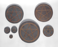 Ceramic Burnished Pentacle Altar Tiles by Merytsetesh