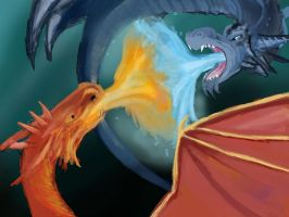 Red Vs Blue Dragon Battle by TapSkill