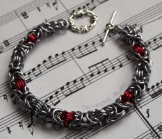 Silver and red byzantine chainmaille bracelet by TerraNovaJewels
