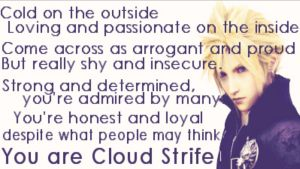 I am most like Cloud Strife from Final Fanasy by MarcusMcCloud100
