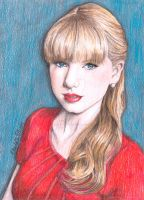 Taylor Swift Red Tour Coloured Pencil Drawing by ArtbyCharlotte
