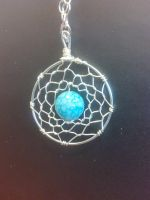 Fore SALE Aqua Blue Dream Catcher Quartz Pendant W by FlutterByye