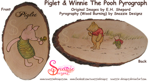Piglet Winnie The Pooh Pyrograph (Woodburning) by snazzie-designz
