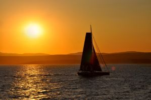 Sailing towards the sunset 1 by MousseAuChocolaat