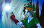 ZeldaOot: Link in ice cavern by Kathisofy