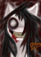 Jeff the killer pony doodle by psycholiger13