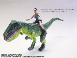 Lara and the T-Rex papercraft by ninjatoespapercraft