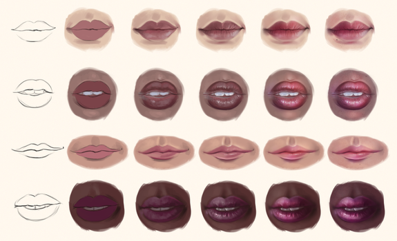 Lip Study - Step by Step by Sandramalie