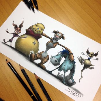 Winnie the Pooh Creepy Drawing by AtomiccircuS