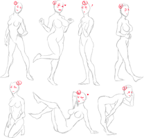 Casual female pose adoptables by FaggyChan