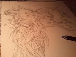 Tatto design: wolf and crows WIP I by Kaos-Nest