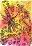 Oil Pastels: Hummingbird by kxeron