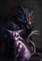 Espeon and Luxray by bloodrizer