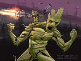 Rocket and Groot by SteveMillersArt