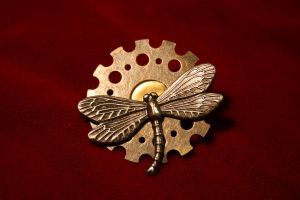 Gear Flower Dragonfly Lapel Pin by turnerstokens