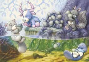 Blue Nose Friends springtime pond by ShaneMadeArt