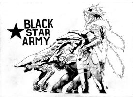 black star army cover bw by bordon