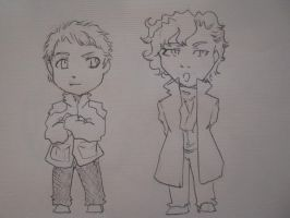 Chibi Sherlock and John :D by AliceBezarius