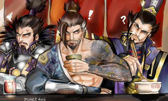 Hanzo lunch with his Doppelgangers by Tazaca