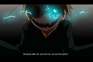 Cry: We are the same! [Fake anime screencap] by tunaniverse