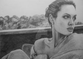 Angelina Jolie Pencil Drawing by GTracerRens