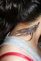 Feather tattoo on neck by KatNicole