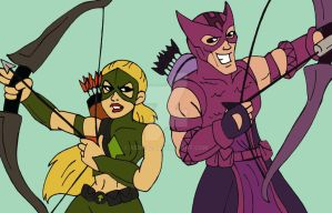 Marvel/DC: Artemis and Hawkeye by xero87